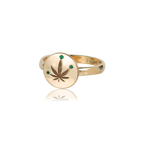 ali grace jewelry sustainable jewelry design weed leaf ring cannabis fine jewelry like jacqui aiche