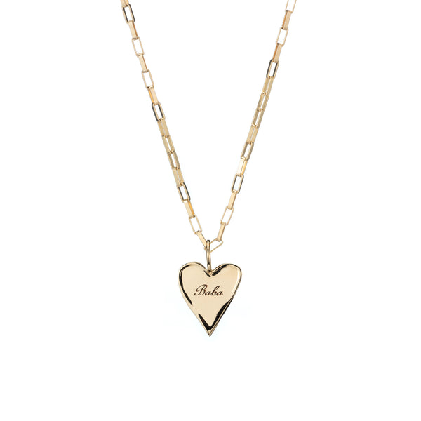 gold charm necklace custom engraving heart charm necklace gold chain