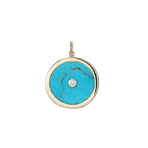 ali grace jewelry turquoise inlay diamond gold pendant handmade jewelry nyc