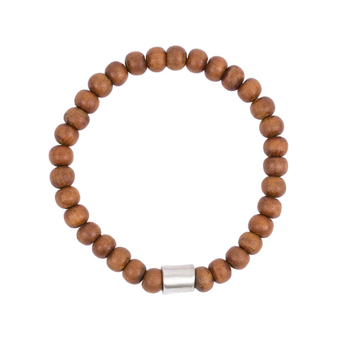 Sandalwood and Sterling Silver Bead Bracelet