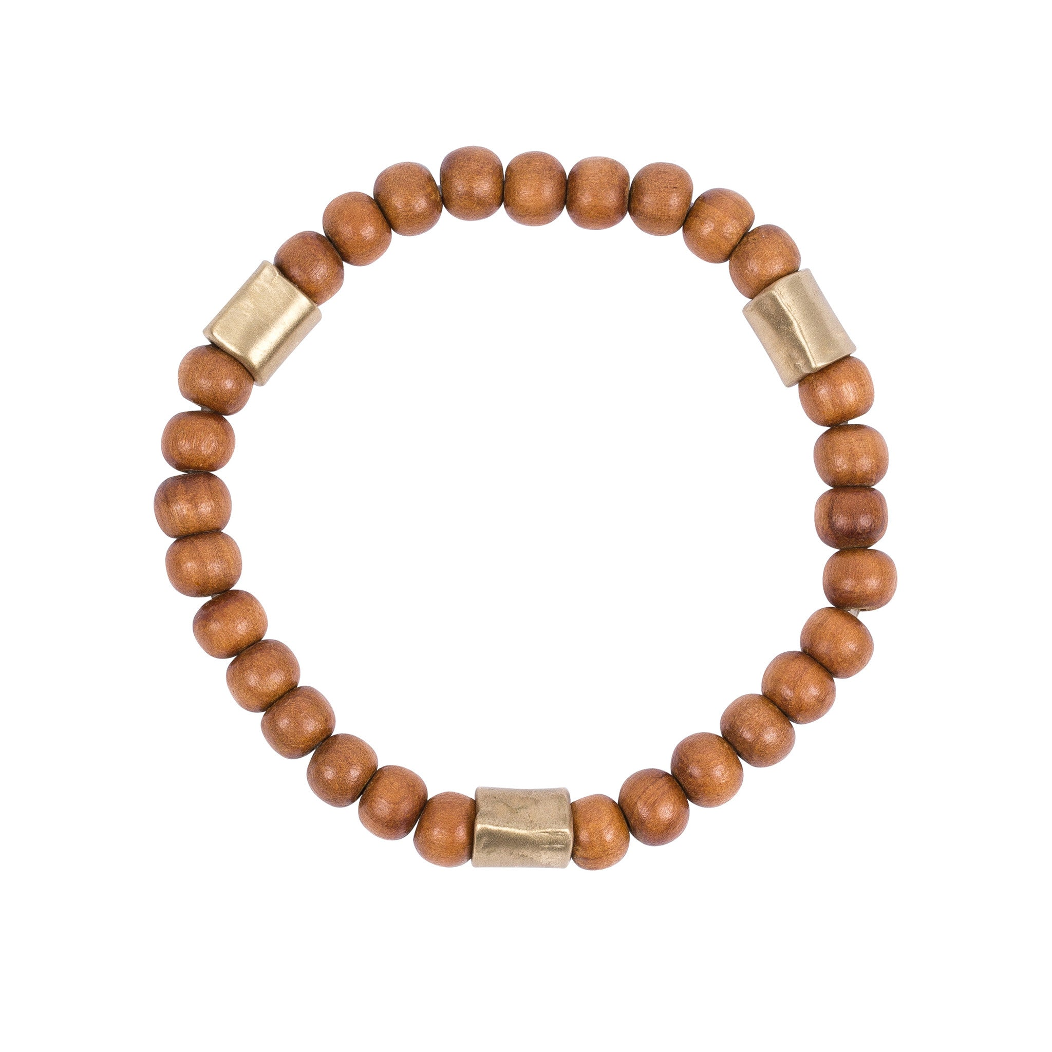 sandalwood and brass bead bracelet