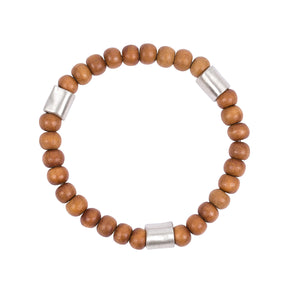 Sandalwood w/ 3 Sterling Silver Hand Rolled Beads Bracelet