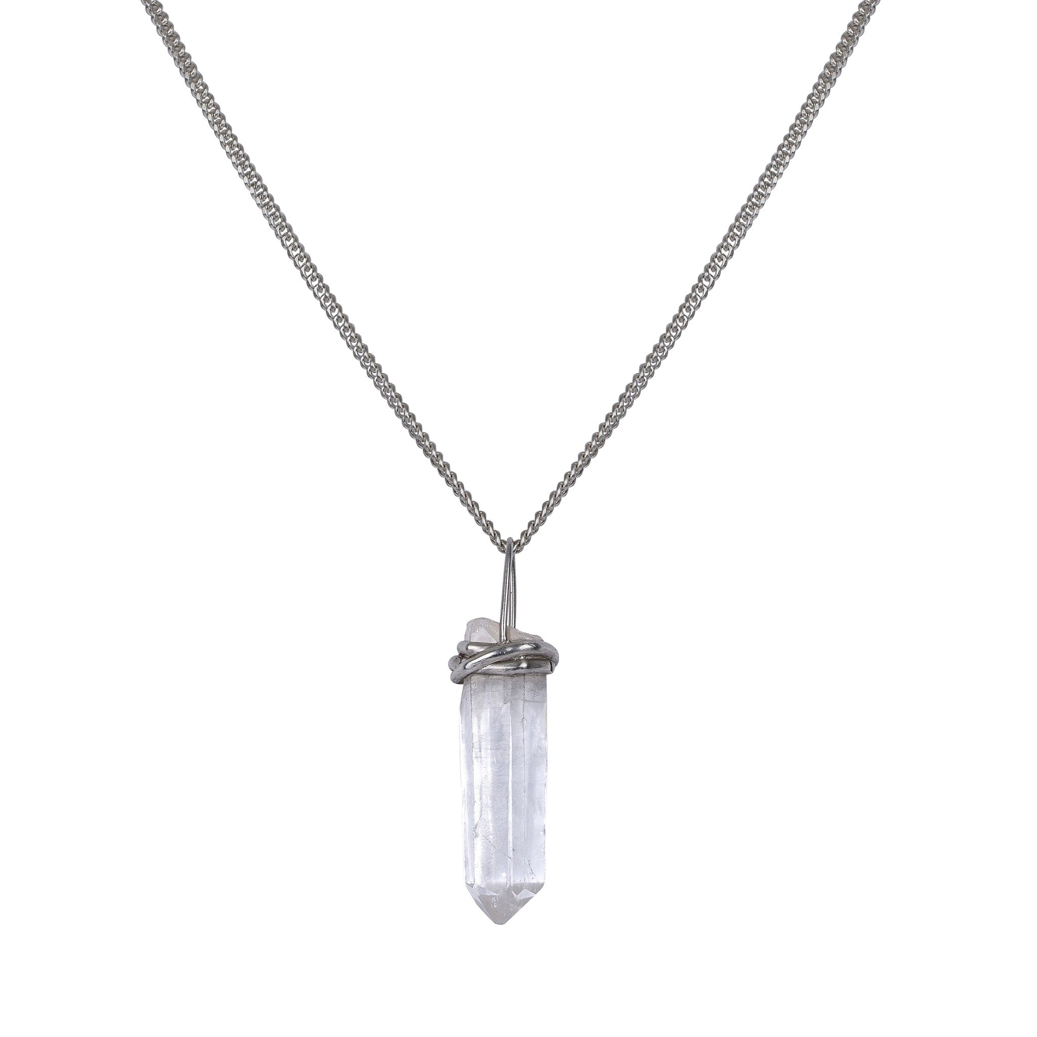 Silver necklace with crystal pendant