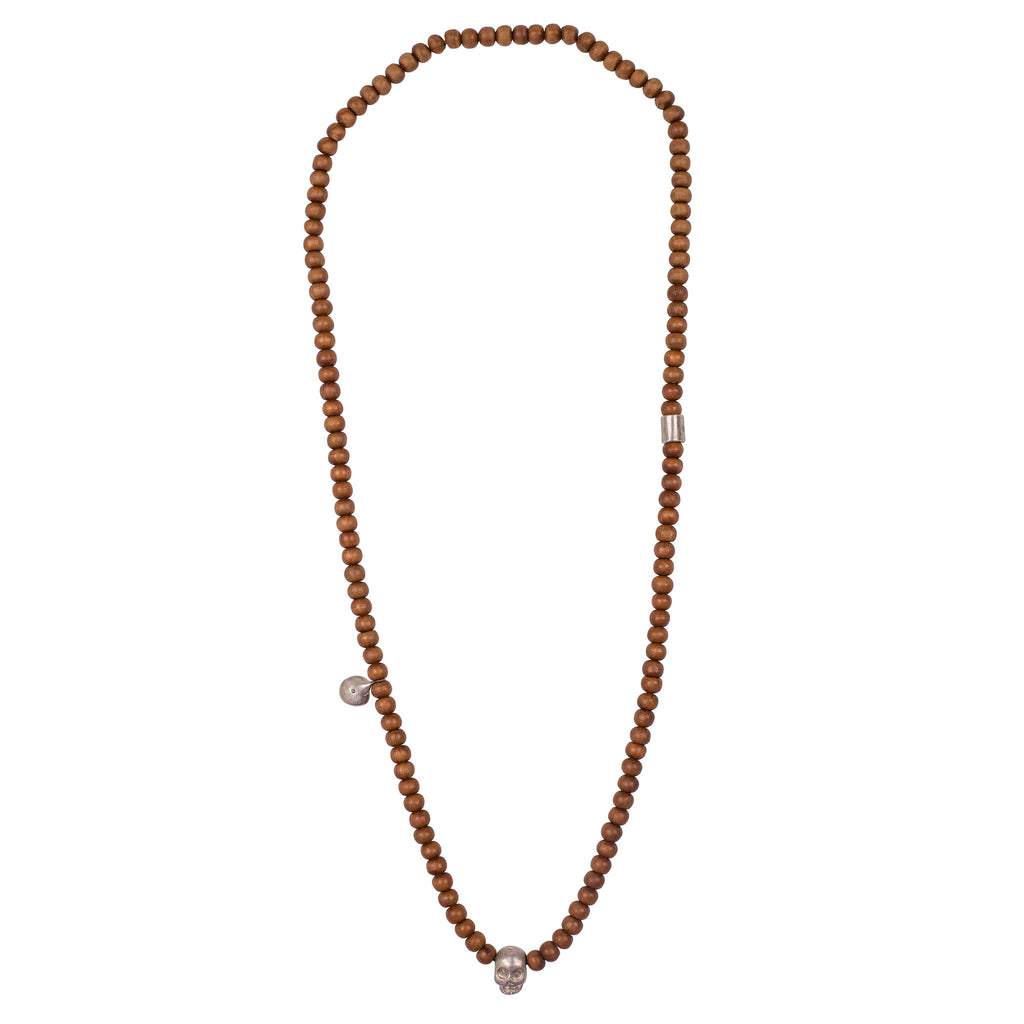 Sandalwood w/ Silver & Black Diamond Charm, Skull and Bead Necklace