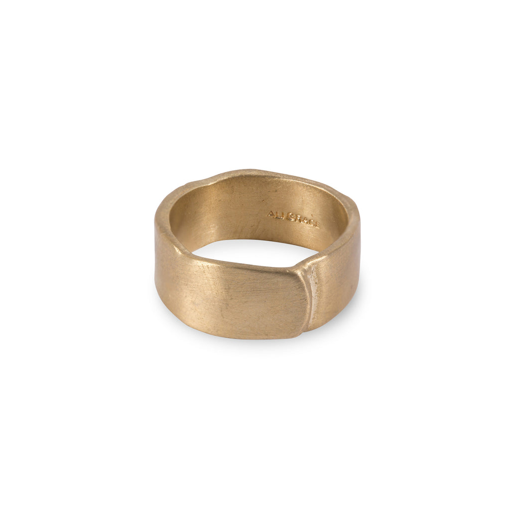Wide Plain Brass Overlap Ring