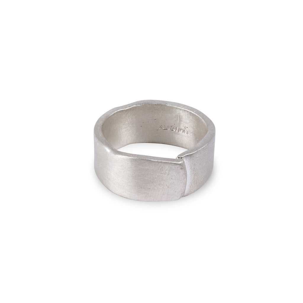 Wide Plain Sterling Silver Overlap Ring