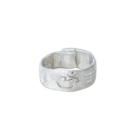 Wide Sterling Silver Symbol Overlap Ring