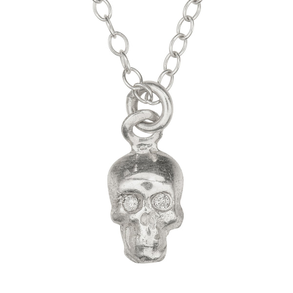 Silver necklace with skull and diamonds