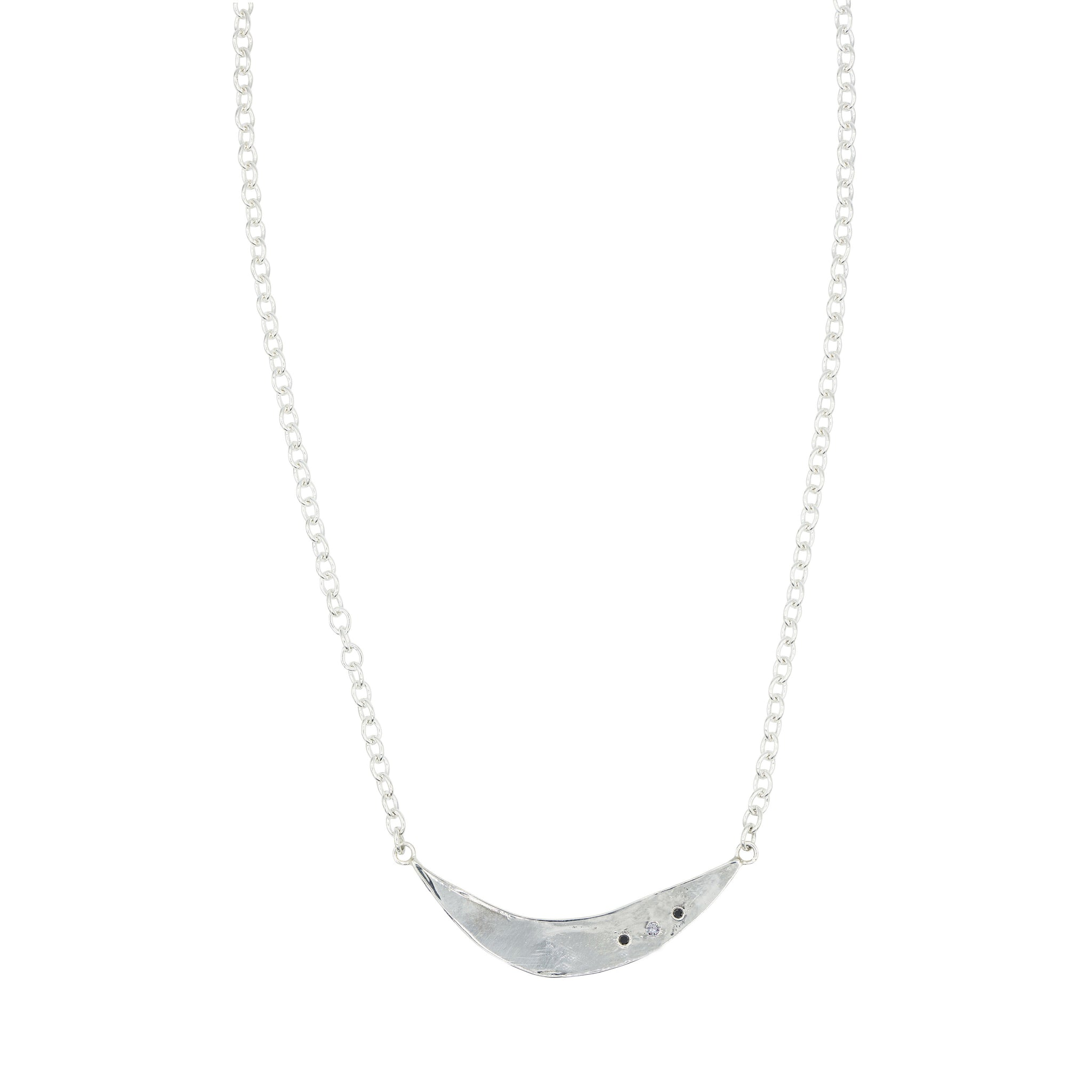 diamond black diamond moon shaped pendant chain necklace