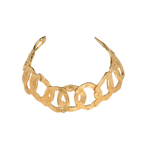 Brass link necklace gold statement necklace