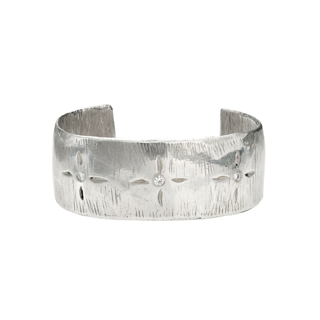 Starburst Design w/ Diamonds Wide Sterling Silver Cuff