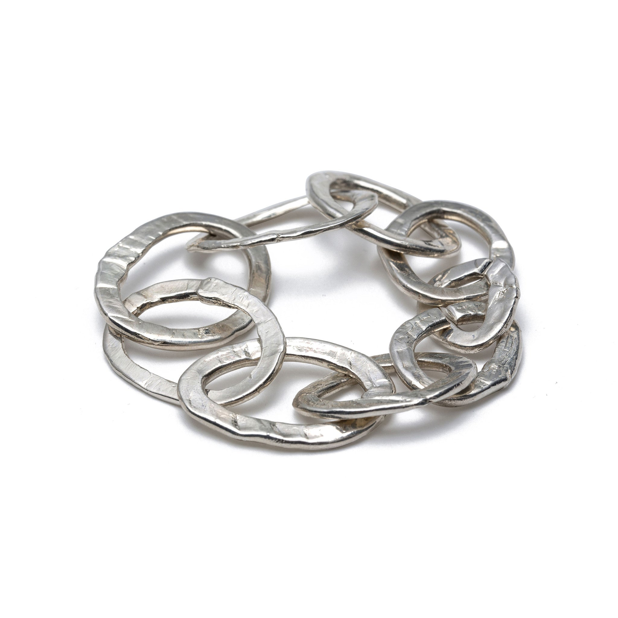 chain link bracelet made with sterling silver