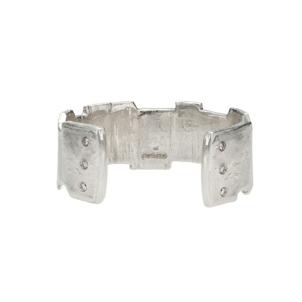 hand carved sterling silver and diamond cuff bracelet