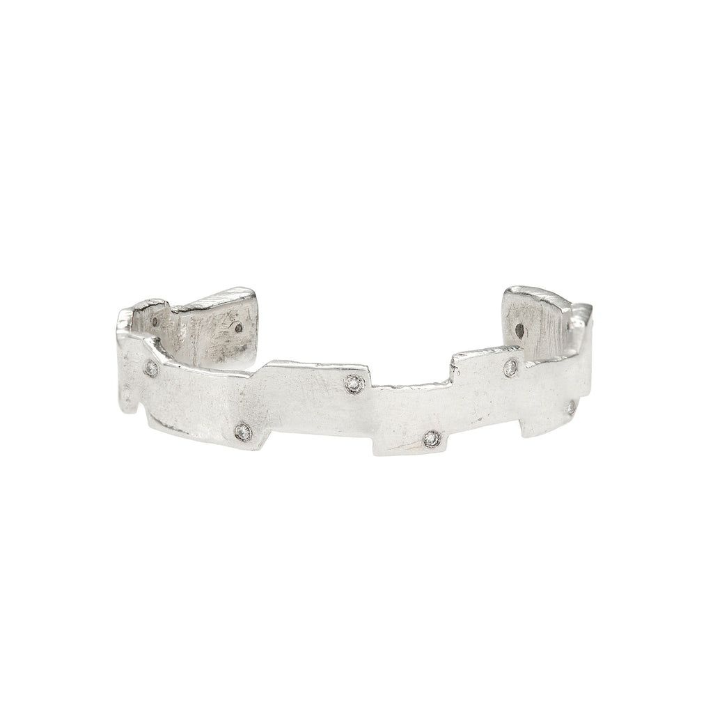 Sterling Silver w/ Diamonds Puzzle Cuff