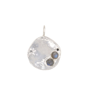 labradorite black diamond charm pendant necklace sterling silver