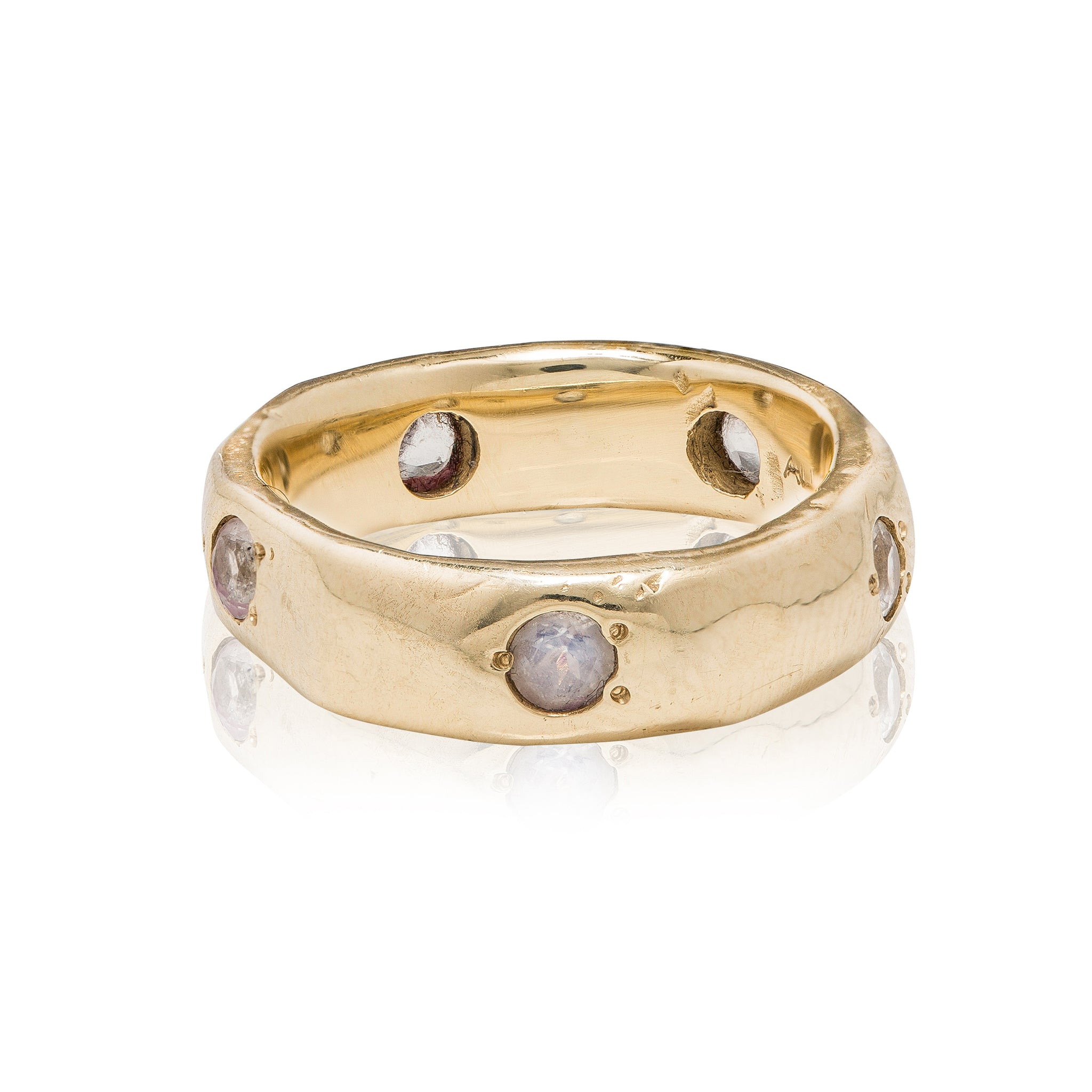 14k gold ring with blue moonstones