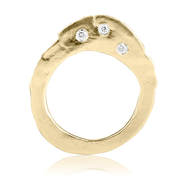 gold diamond fine jewelry stackable ring new york city handmade jewelry