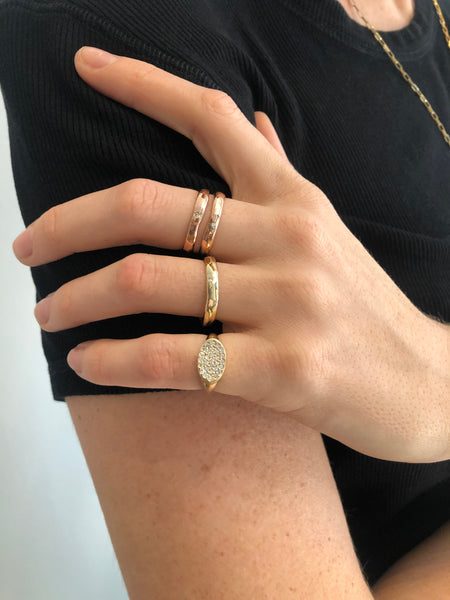 delicate every day fine jewelry rose gold diamond ring