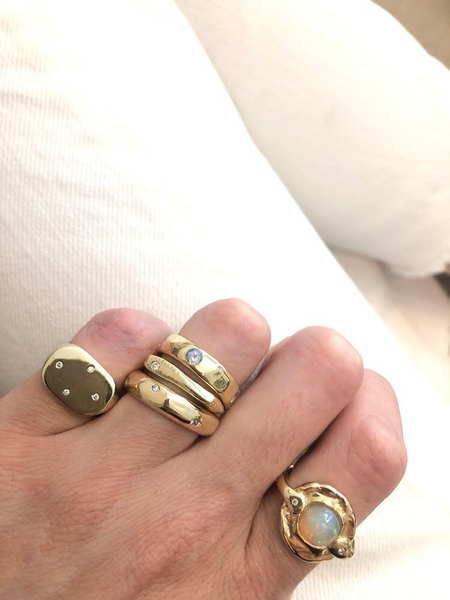 modern heirloom signet ring stacked gold ring