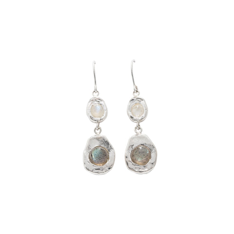 double drop sterling silver earrings