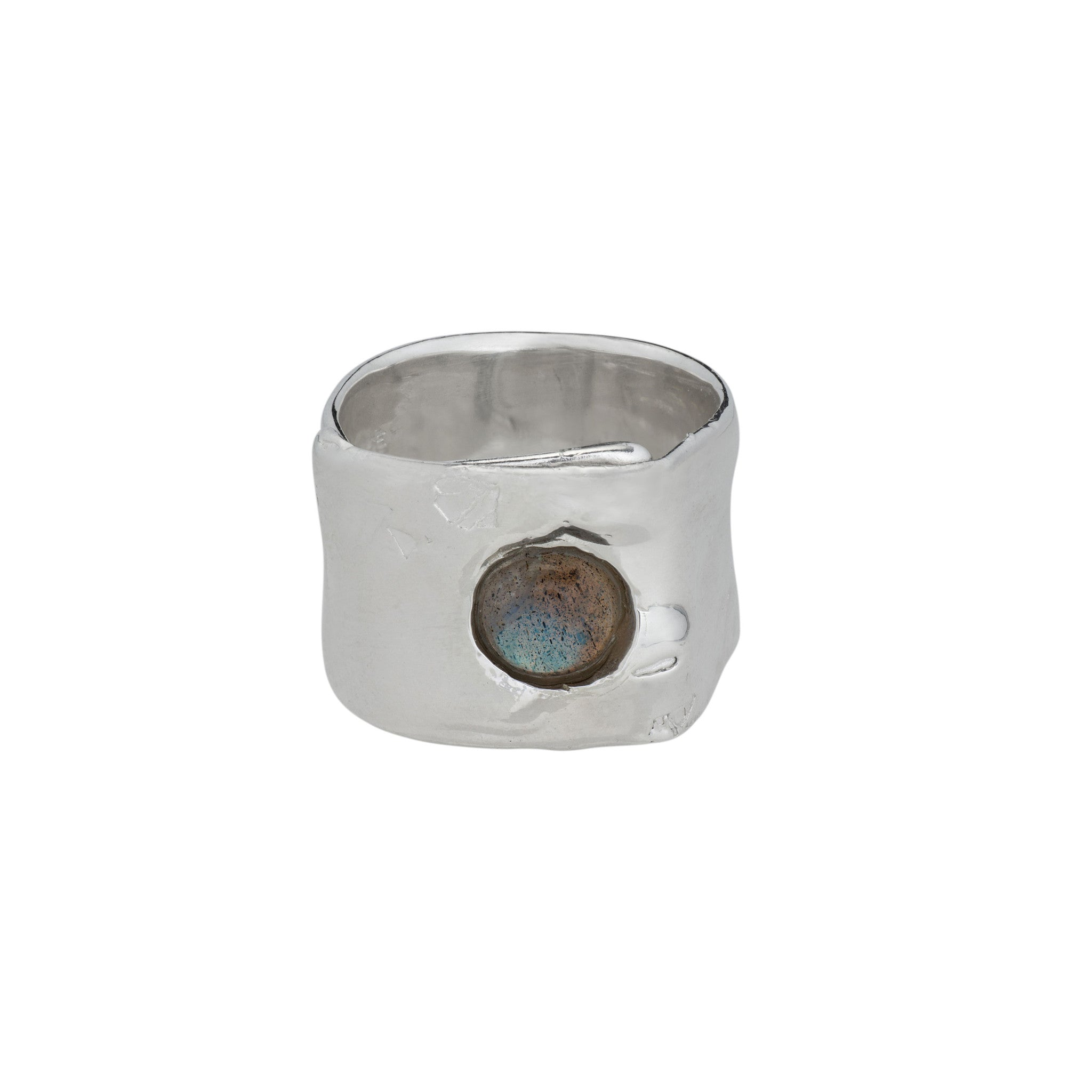 labradorite and silver wide band ring