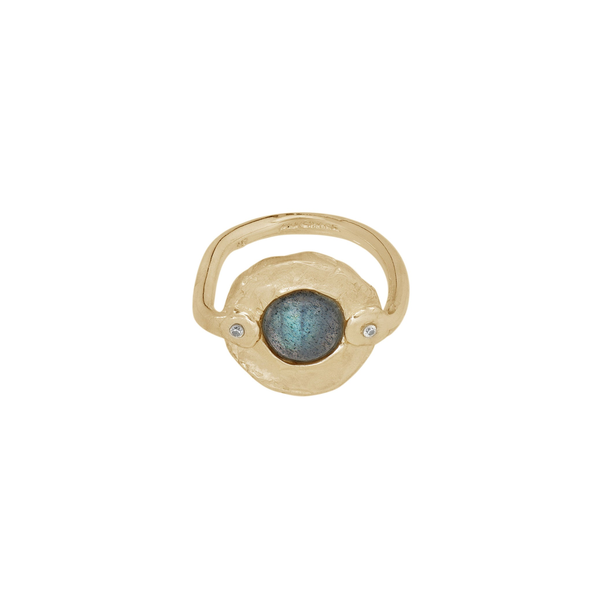 labradorite and diamond gold ring