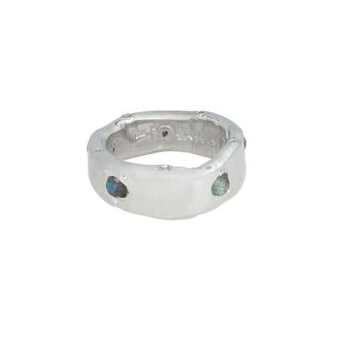 Labradorite & Diamond Band