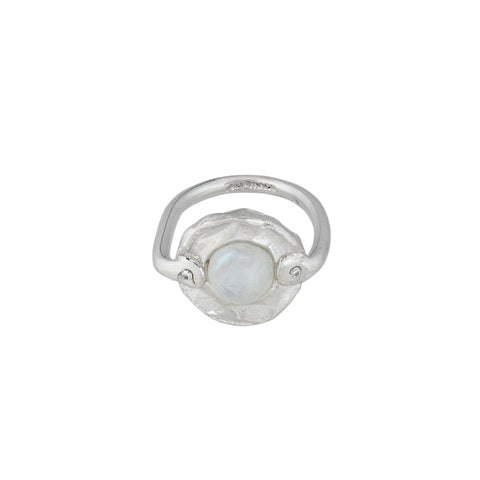 Silver, Rainbow Moonstone & Diamond Ring