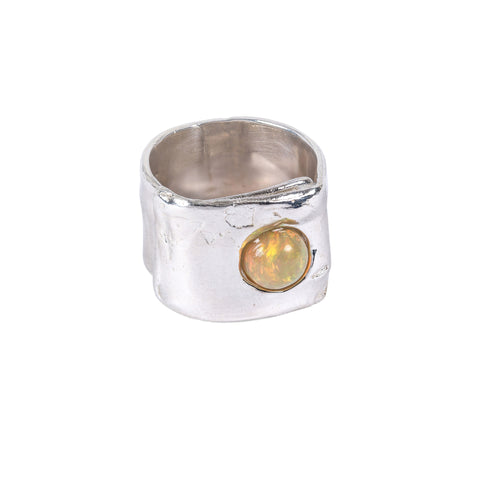 silver opal wide wide band ring