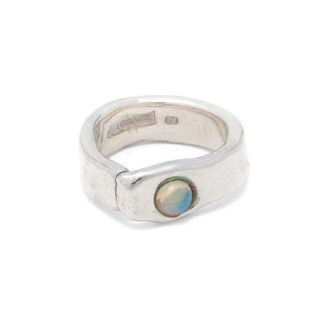 diamond and opal silver ring