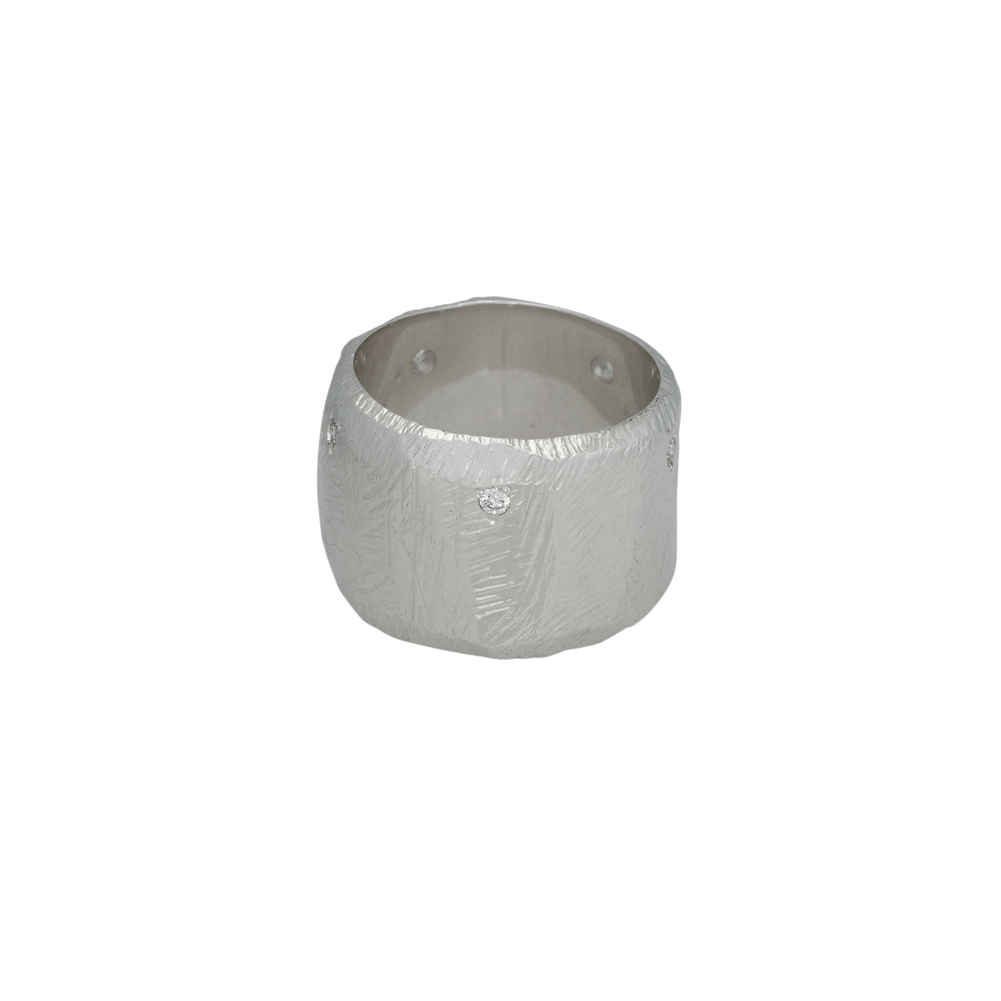 wide band silver ring with diamond