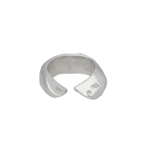 Silver and Diamond Claw Ring