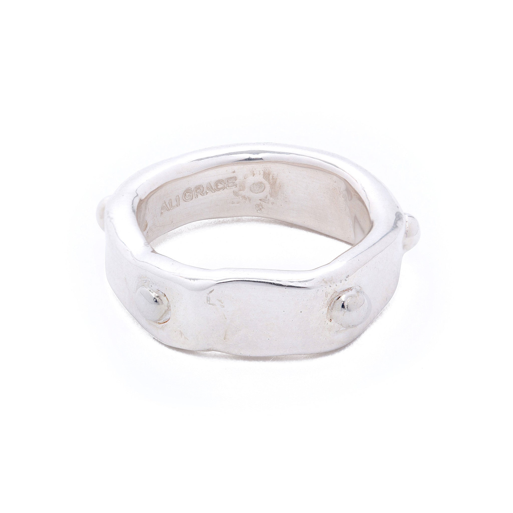 silver stone band ring