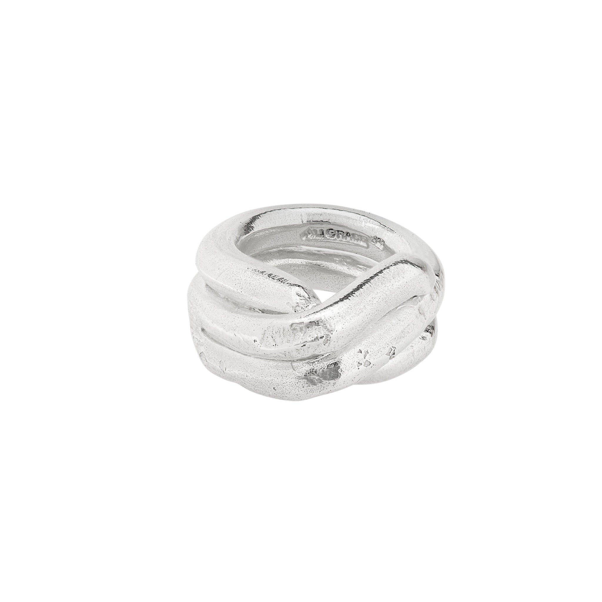 Triple wide sterling silver ring