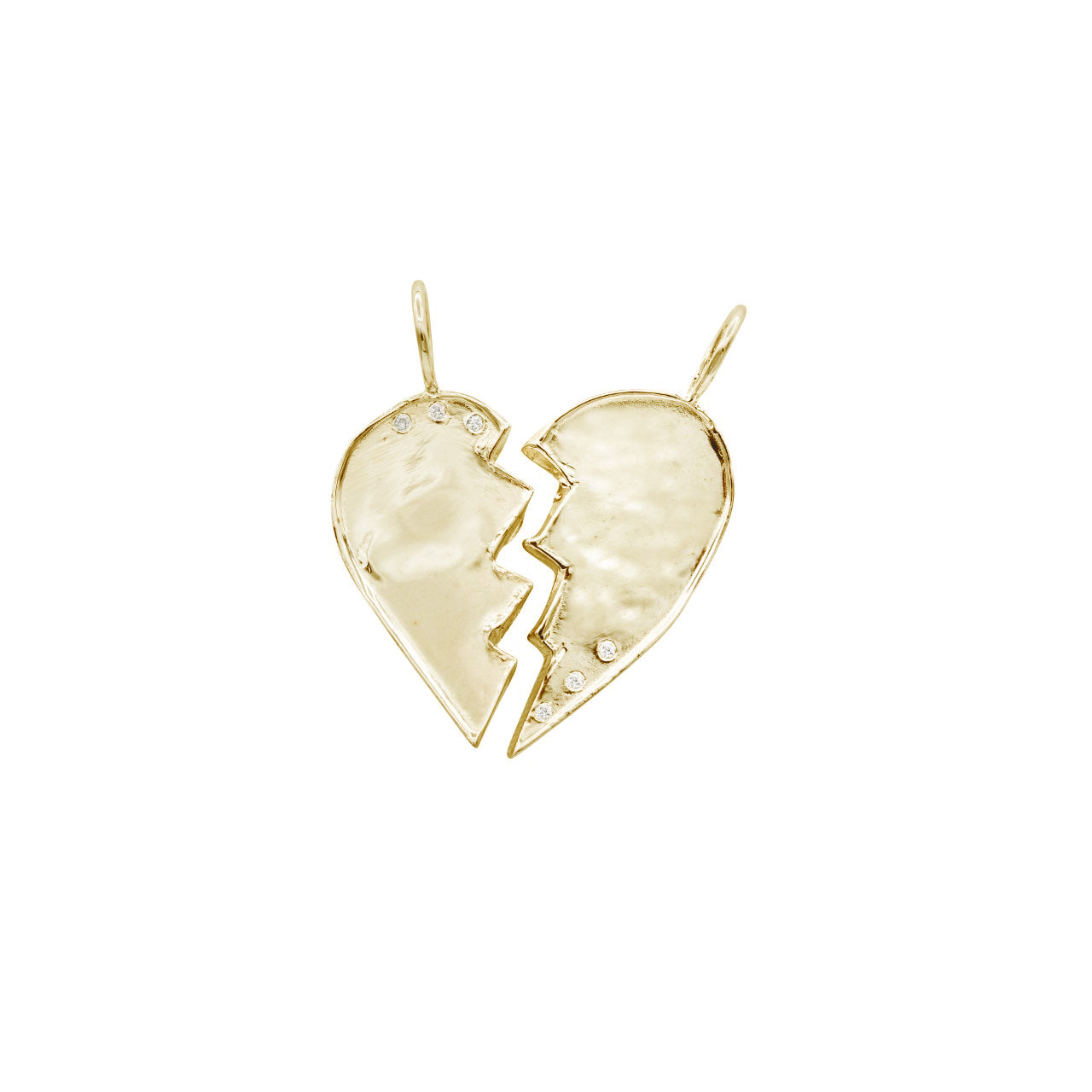 Gold w/ Diamonds Friendship Heart Charms