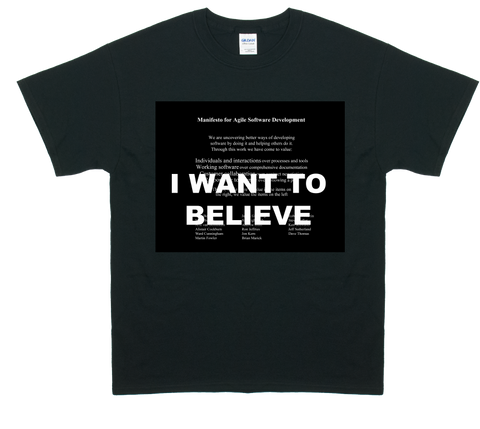 I Want To Believe Agile Manifesto T-Shirt (Black)
