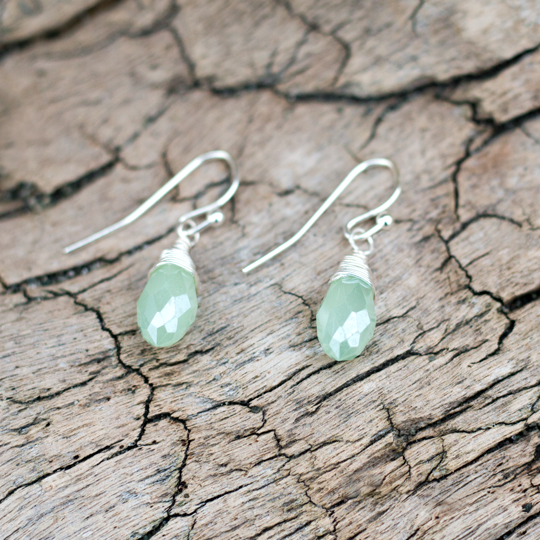 Enchanted Silver/Green Earrings by Glee Jewelry