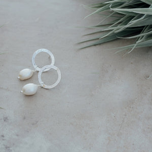 Juliana Silver/White Pearl Earrings by Glee Jewelry