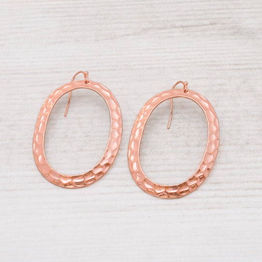 Large Hammered Rose Gold Hoops by Glee Jewelry