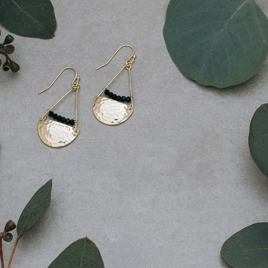 Muse Gold/Black Onyx Earrings by Glee Jewelry