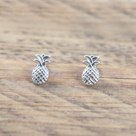 Pineapple Silver Studs by Glee Jewelry