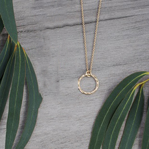 Simple Circle Gold Necklace by Glee Jewelry
