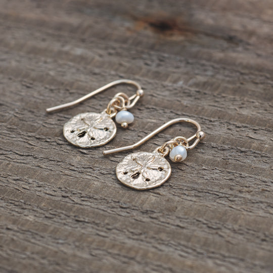 Small Sand Dollar Gold Earrings by Glee Jewelry