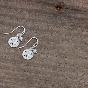 Small Sand Dollar Silver Earrings by Glee Jewelry