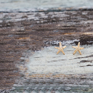 Whimsical Seastar Gold Studs by Glee Jewelry