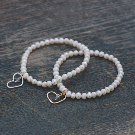 Amore White Pearl Bracelet by Glee Jewelry