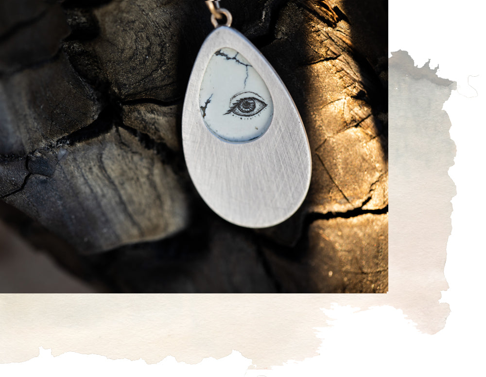 one of a kind scrimshaw necklace