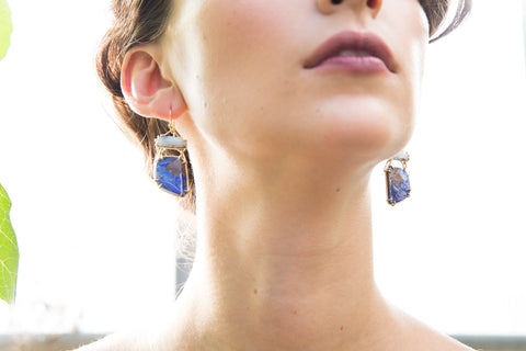 Hannah Blount Jewelry Boulder Opal Diamond Vanity Earrings | Sadie Dayton Photography