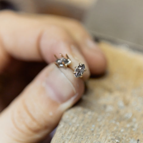 Tiny Marquis Salt + Pepper Diamond Vanity Studs by Hannah Blount Jewelry Studio Blog Process