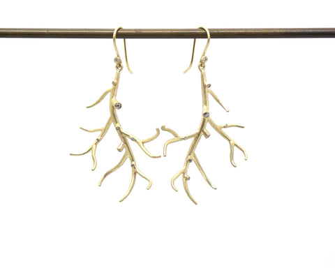 Medium Branch Earrings with Diamonds-Hannah Blount Jewelry